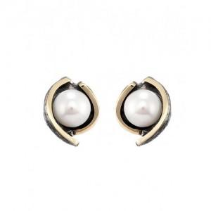 Pendientes plata oro y perla Styliano - 2670541