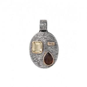 Colgante y cadena plata y oro cuarzo golden fume - 2670385
