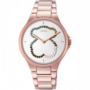 Reloj Motion Straight oso de acero IP rosado con cristales - 2490423