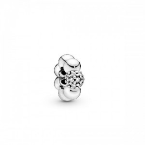 Sterling silver spacer with clear cubic  - 2394038