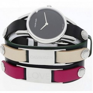 Reloj de Calvin Klein, de 32 mm de Acero Inoxidable Correas de Reloj de Cuero Blanco Negro Verde K9D231LY - 1661471