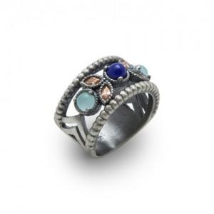 Anillo plata lapizlazuli calcedonia azul y circonitas RAIVE 15146