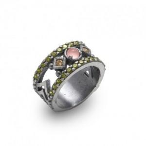 Anillo plata cuarzo rosa y circonitas RAIVE 15148