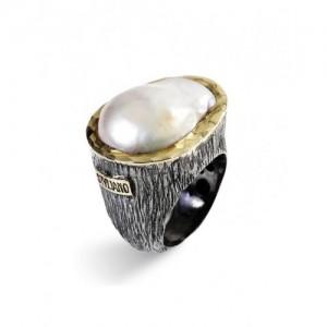 Anillo de plata oro y perla Styliano ASP 688