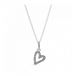 Heart sterling silver pendant with clear - 2394098