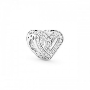 Heart sterling silver charm with clear c - 2394107