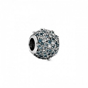 Daisy sterling silver charm with icy gre - 2394190