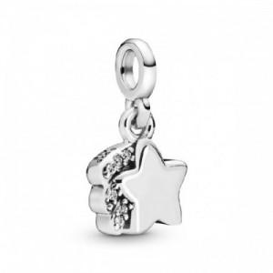 Shooting star sterling silver dangle cha - 2394149