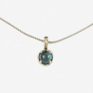 Cadena y colgante plata grapa piedra london azul