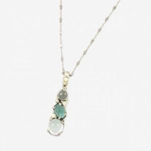 Collar plata calcedonia y circonita verde