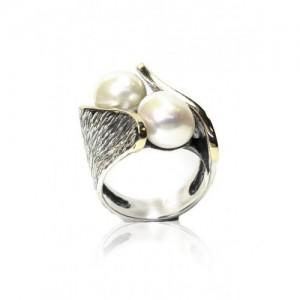 Anillo oro y plata con perlas cultivadas