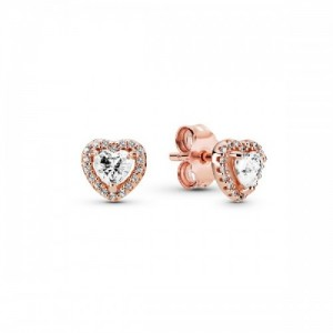 Heart Pandora Rose stud earrings with cl