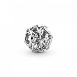 Openwork sterling silver charm with clea