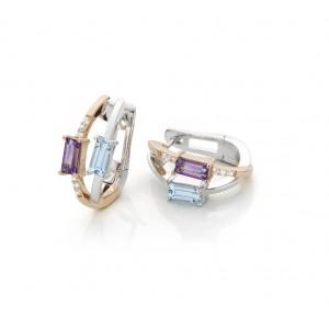 Pendientes de oro blanco diamantes,topazio y amatista - 1950230