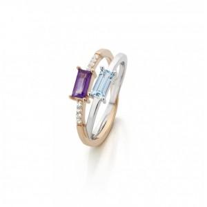 Anillo de oro diamantes,topazio y amatista - 1950231