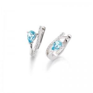 Pendientes de oro,Diamantes y Topazio azul
