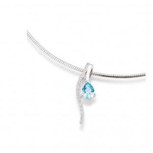 Colgante de Oro con Diamantes y Topazio Azul